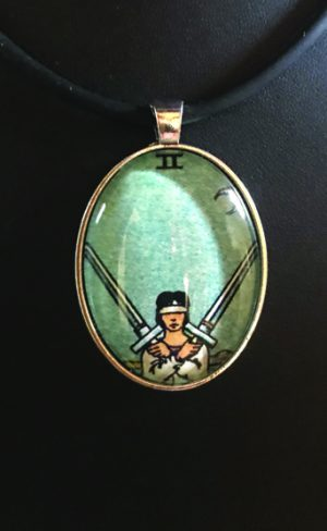 my inner witch | two of swords pendant waite smith tarot deck mystical and witchy wearable art
