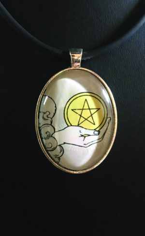 my inner witch | tarot pendant ace of pentacles jewellery centennial waite smith tarot wearble art spiritual and mystical symbols