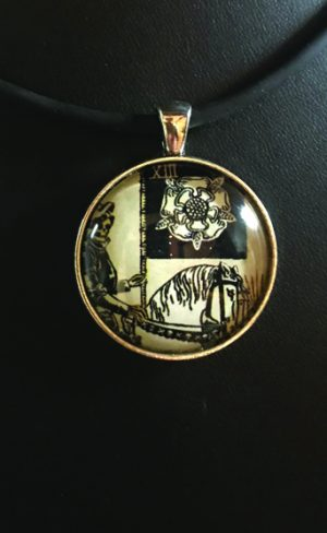 my inner witch | wearable art centennial waite smith tarot death pendant mystical and symbolic jewellery
