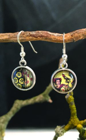 my inner witch | nine of pentacles earrings from the waite smith tarot deck
