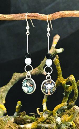 my inner witch | high priestess drop earrings waite smith tarot cards