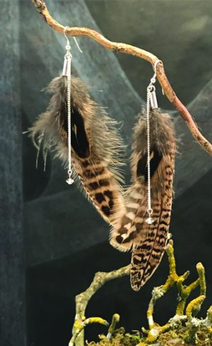 my inner witch | pheasant feather silver and crystal earrings