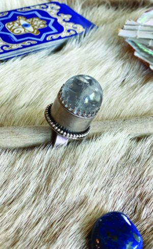 my inner witch sterling silver and quartz crystal ball ring