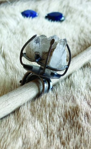 my inner witch caged silver and quartz cluster ring